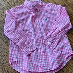 Boys Polo Button Down Pink Shirt